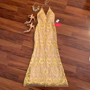 NWT yellow embroidered long dress